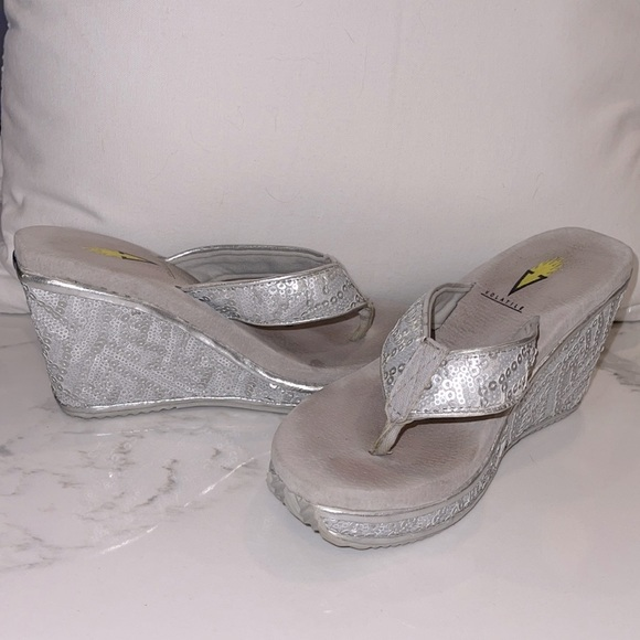 Volatile Silver Sequined Wedge Flip Flop